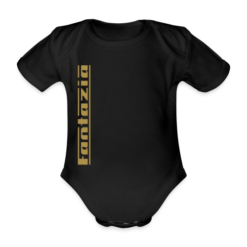 Fantazia Baby grow with Gold Glitter logo - Organic Short-sleeved Baby Bodysuit