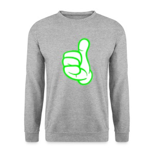thumbs up sweater green lines. - Mannen sweater
