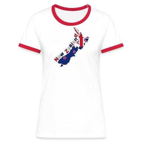 Frauen Kontrast-Shirt Neuseeland Flagge - Frauen Kontrast-T-Shirt