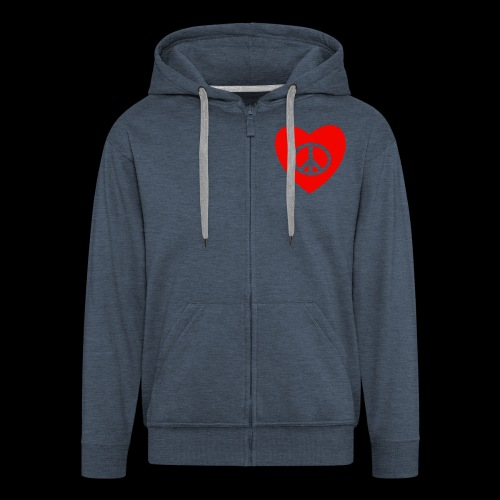 Peace and Love by TattooFont3D - Men's Premium Hooded Jacket