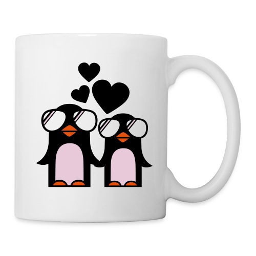 Pingüinos con corazones - Taza
