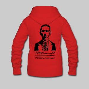 FJK1: H.P. Lovecraft Portrait - A Literary Copernicus (monochrome) - Women's Premium Hooded Jacket