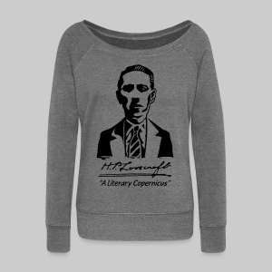 FPU1: H.P. Lovecraft Portrait - Literary Copernicus (monochrome) - Women's Boat Neck Long Sleeve Top