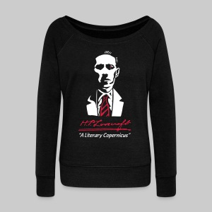 FPUd2: H.P. Lovecraft Portrait - Literary Copernicus (bicolourd) - Women's Boat Neck Long Sleeve Top