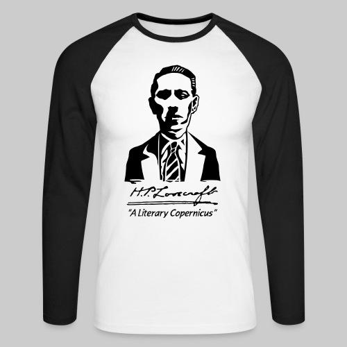 MTY: H.P. Lovecraft Portrait - Literary Copernicus (monochrome) - Men's Long Sleeve Baseball T-Shirt