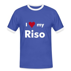 I Love My Riso - Blue Contrast T-Shirt - Men's Ringer Shirt