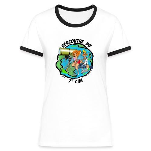 7ème ciel - femme - blanc-marine - T-shirt contrasté Femme