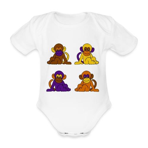 vier Monkeys Baby Body - Baby Bio-Kurzarm-Body