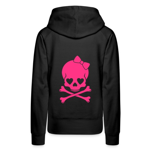 Pug Luv x Black Hoodie/ Pink Bow skull  Only On Back - Women's Premium Hoodie