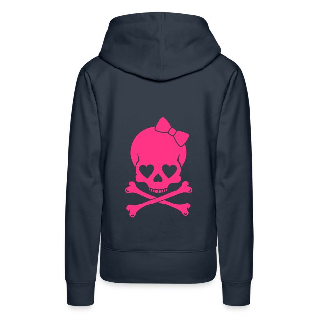 Pug Luv x Black Hoodie/ Pink Bow skull  Only On Back