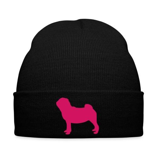 Pug Love x Black Hat Pink Pug Standing - Winter Hat
