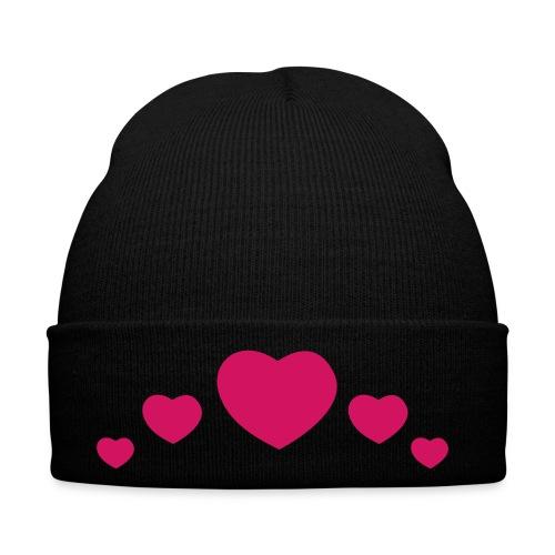 Pug Love x Black Hat Pink Hearts - Winter Hat
