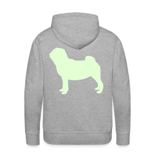 Pug Luv x Unisex Pug Stand Hoodie Grey GLOW IN DARK PUG - Men's Premium Hoodie