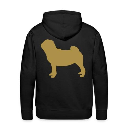 Pug Luv x Unisex Pug Stand Hoodie Black Gold Glitter - Men's Premium Hoodie