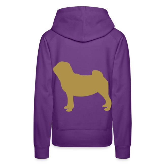 Pug Luv x Pug Stand Hoodie Purple Gold glitter