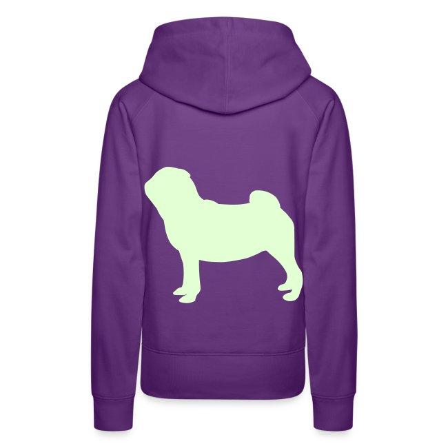 Pug Luv x Pug Stand Hoodie Purple Glow in the Dark