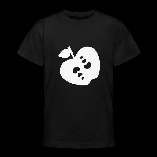 kinder, t-shirt, klassisch, apfel mit herz, reflektierend - Teenager T-Shirt