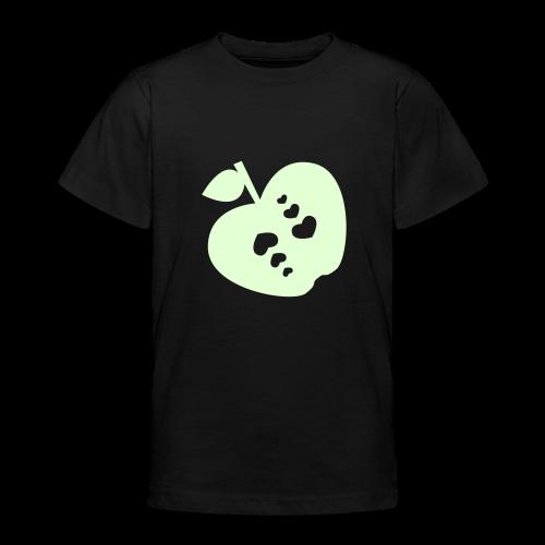 kinder, t-shirt, klassisch, apfel mit herz, leuchtend - Teenager T-Shirt