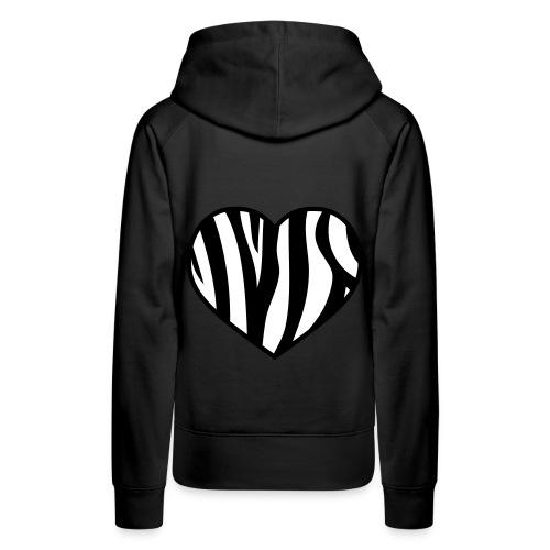 Pug luv x the heart of the zebra Black hoodie - Women's Premium Hoodie