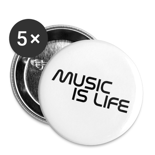 5 PACK Stecker ,,Music is Life HRFH - Buttons groß 56 mm (5er Pack)