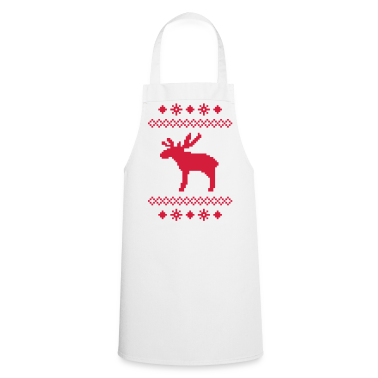 moose caribou reindeer deer christmas norwegian knitting pattern rudolph rudolf winter snowflake snow crystal frost snow flower  Aprons