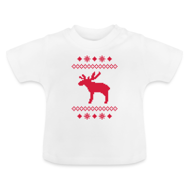 moose caribou reindeer deer christmas norwegian knitting pattern rudolph rudolf winter snowflake snow crystal frost snow flower Baby Shirts