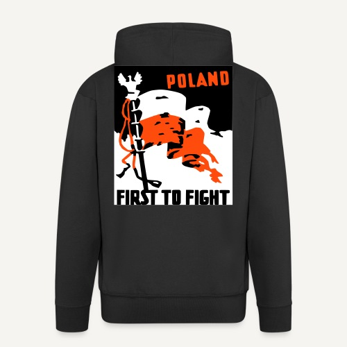 Poland - first to fight (bluza rozpinana) - Rozpinana bluza męska z kapturem Premium