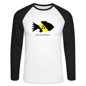 t-shirt fisch blind blindfisch flosse ozean meer wal delphin spruch sprüche comic tiershirt shirt tiermotiv - Männer Baseballshirt langarm
