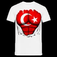 T-Shirts ~ Men's T-Shirt ~ Turkey Flag Ripped Muscles, six pack, chest t-shirt