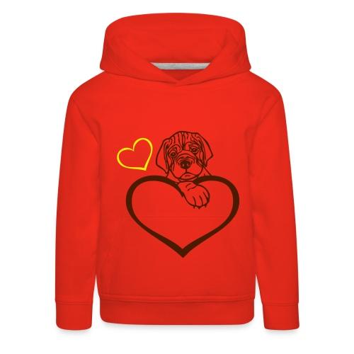 girls doggie heart hoodie (kids) - Kids' Premium Hoodie