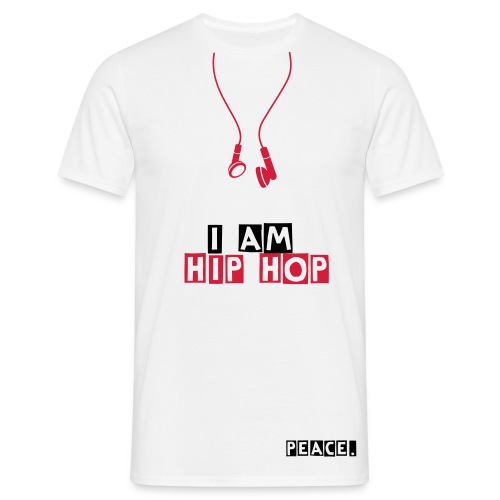 I AM HIP HOP - Peace.-white&black&red - T-shirt Homme