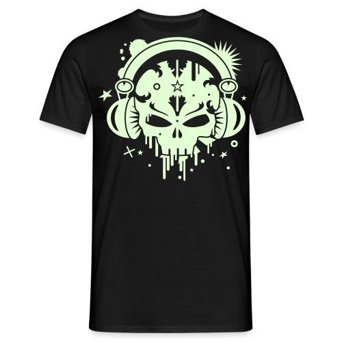 t-shirt tete de mort avec casque de musique phosphorescent - T-shirt Homme