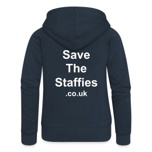 Save The Staffies (.co.uk) hoodie - back print - Women's Premium Hooded Jacket