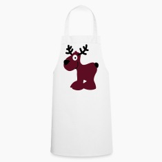 cute moose caribou reindeer deer christmas norway rudolph rudolf winter scandinavia canada smile eyes  Aprons