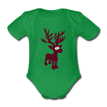cute moose caribou reindeer deer christmas norway rudolph rudolf winter scandinavia canada Baby Bodysuits