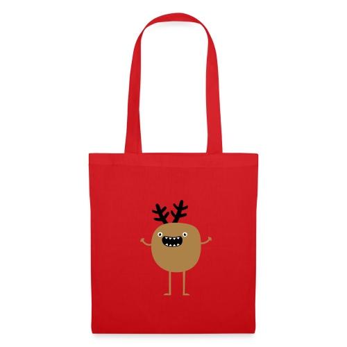 Funny Christmas Reindeer ( hirvi) Laukut - Stoffbeutel
