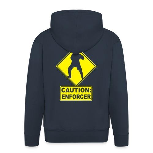 'CAUTION: Enforcer' Men's Hooded Jacket  - Men's Premium Hooded Jacket