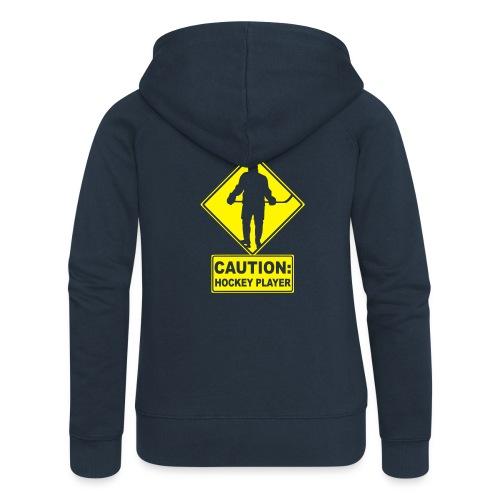 'CAUTION: Hockey Player' Women's Hooded Jacket - Women's Premium Hooded Jacket