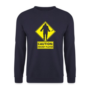 'CAUTION: Hockey Player' Men's Sweatshirt - Men's Sweatshirt