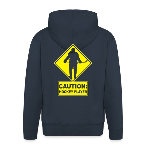 'CAUTION: Hockey Player' Men's Hooded Jacket - Men's Premium Hooded Jacket