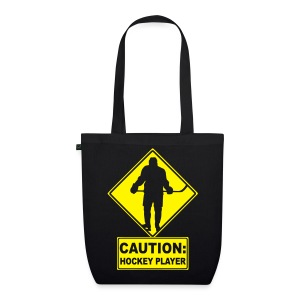 'CAUTION: Hockey Player' Organic Tote Bag - EarthPositive Tote Bag