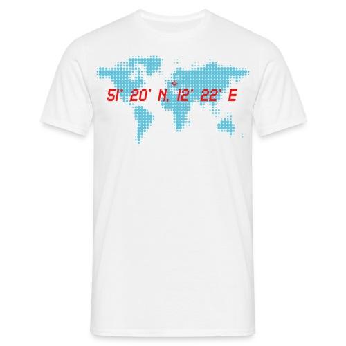 Leipzig Koordinaten Weltkarte T-Shirt - Männer T-Shirt