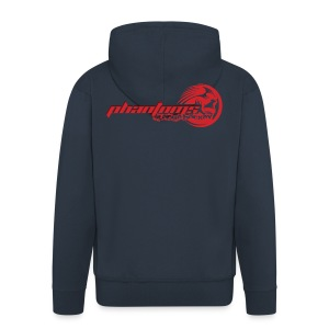Men's Premium Hooded Jacket - Mens dark blue hoodie with Phantoms full logo in red across the back and large roundel on the front in silver glitter.