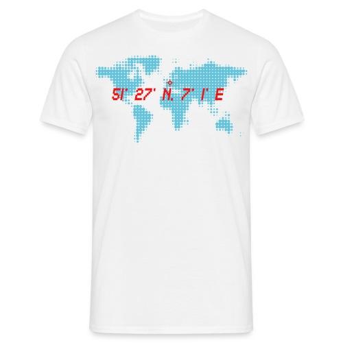 Essen Koordinaten Weltkarte T-Shirt - Männer T-Shirt