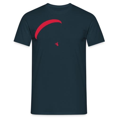Kleines Gleitschirmmotiv auf Vorderseite - Männer T-Shirt