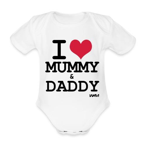Body neonato I love mummy & Duddy - Body ecologico per neonato a manica corta