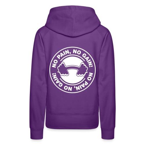 Dame Premium hættetrøje - sweatshirt,No pain no gain,CrossTraining,CrossFit