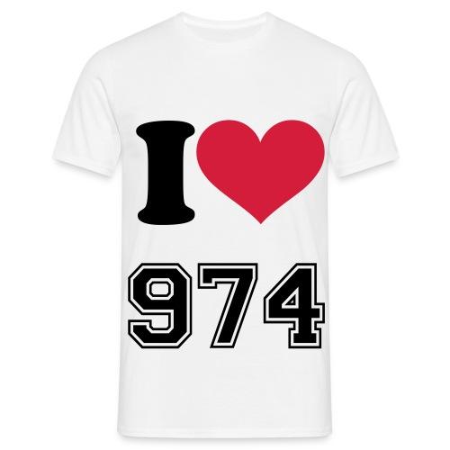 Tee-Shirt Homme Blanc I Love  974   - T-shirt Homme