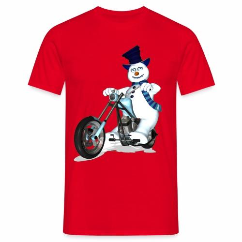 Biker Snowman - Men's T-Shirt