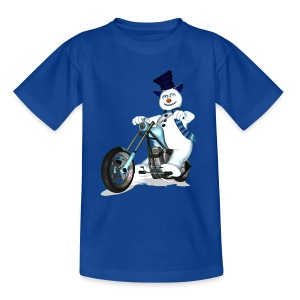 Biker Snowman (child) - Teenage T-shirt